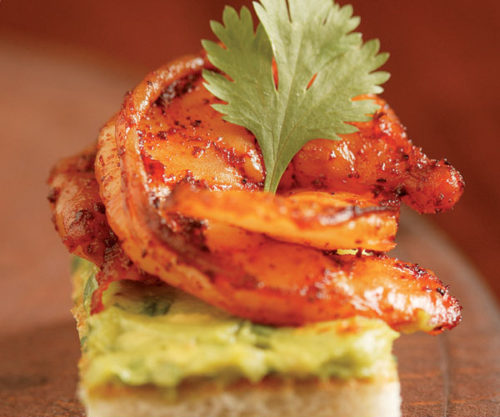 Spiced Shrimp and Avocado Toasts from Fine Cooking
