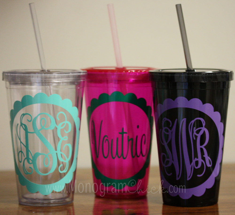 monogrammed tumblers with lid and straw