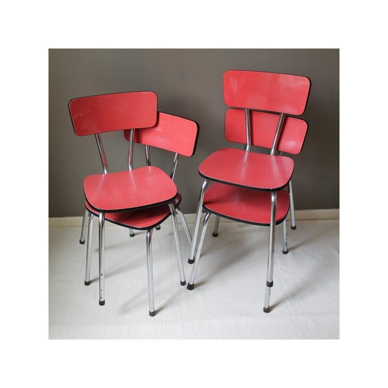 4 sedie vintage di formica rosso da cucina