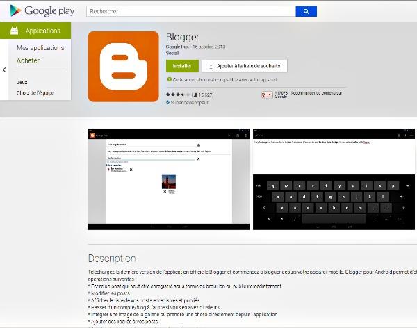 Installer Blogger sur les mobiles