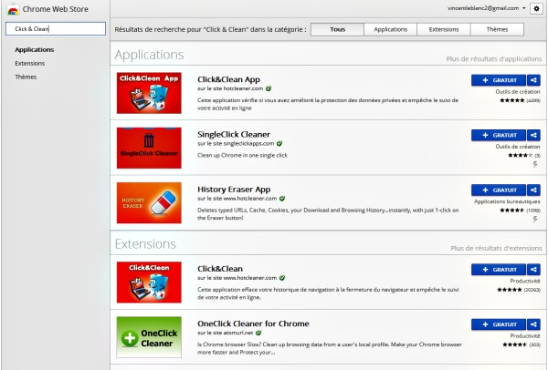 click & clean Google store