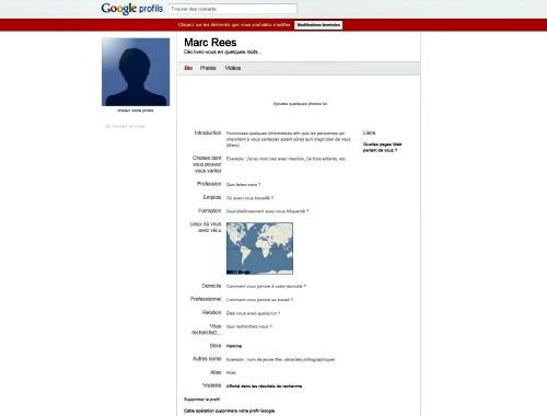 compléter le profil d'un compte Google