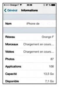 les informations de l'iphone 5