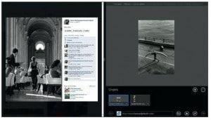 Deux sites – Facebook et mon site de photos – sont affichés dans des fenêtres distinctes