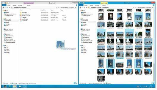 Des fichiers sont en cours de déplacement vers la fenêtre de gauche