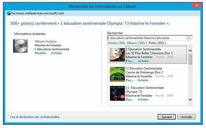 Le Lecteur Windows Media a trouvé des informations