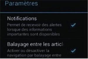 accéder aux notifications