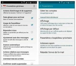 Configurer les options des comptes de messagerie
