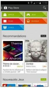 La page d'accueil de Play Store