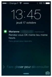 Alerte de réception d'un SMS sur l'écran de verrouillage