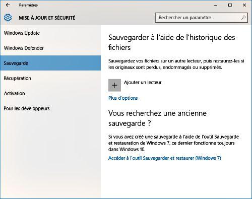 Sauvegarde Windows 10