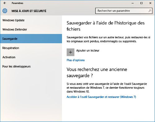 Sauvegarde Windows 10