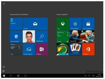 Le menu Démarrer d'une tablette occupe tout l'écran, ce qui facilite l'accès aux apps