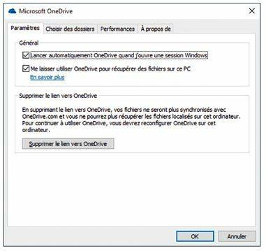 Cette boîte de dialogue vous permet de modifier la manière dont OneDrive communique avec votre ordinateur