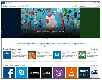 L'application Windows Store donne accès à la boutique virtuelle d'où vous pouvez télécharger des applications gratuites ou payantes