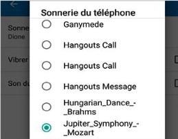 Sonneries du téléphone