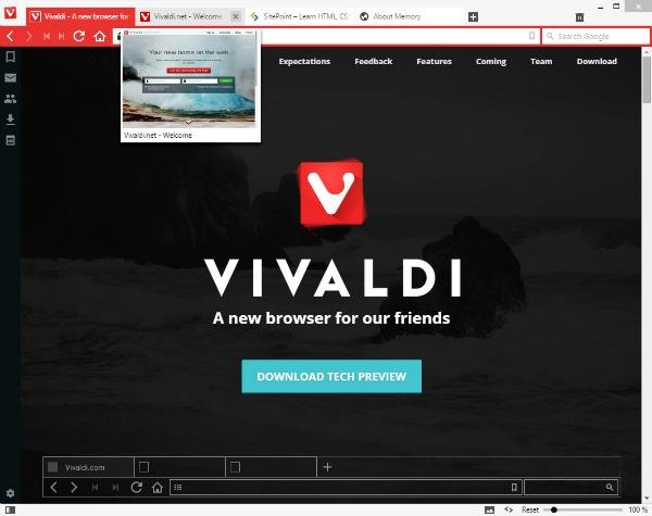 Navigateur Internet Vivaldi Technical Preview