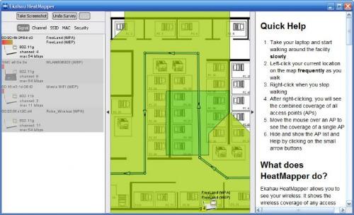 Photo du logiciel ekahau-heatmapper pour cartographier votre domicile