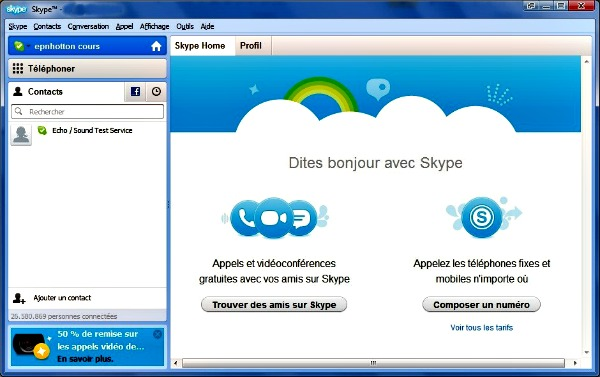 Interface de Skype