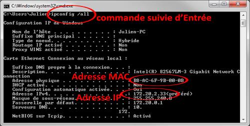 connaître les adresses IP et MAC
