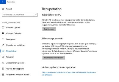 outils de réparation depuis Windows
