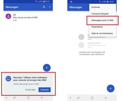 Messages pour le web dans android messages
