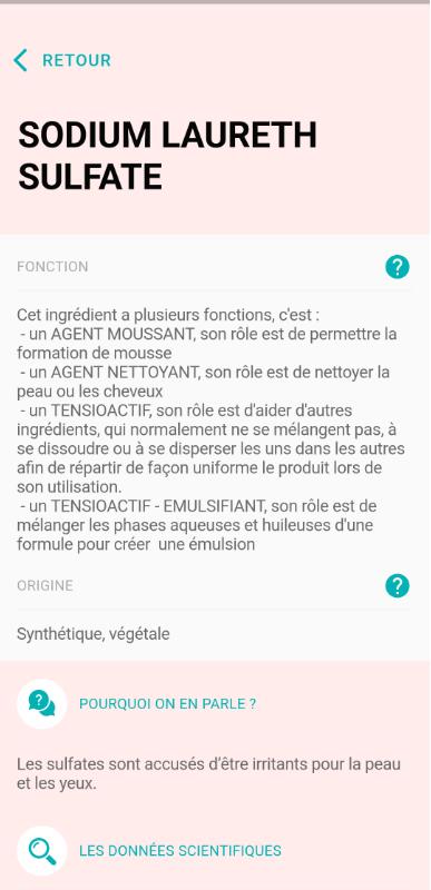 Application CLAIRE - application composition cosmétique - inci application - android et iphone - la vérité sur les cosmétiques par des experts scientifiques