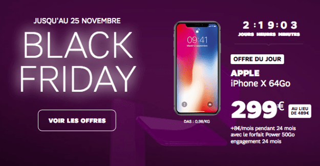 Black Friday of SFR iPhone X Promotion Power Package 50 GB.