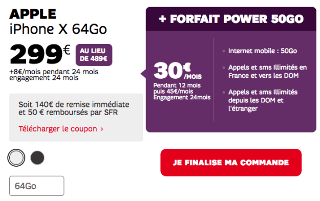 50GB Power Package and iPhone X cheap at SFR for Black Friday.