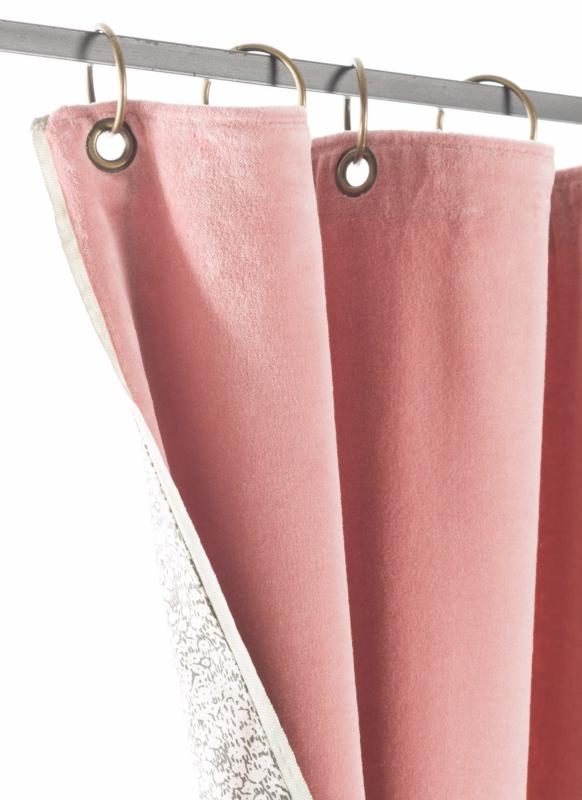 tosca rideau en velours rose poudre
