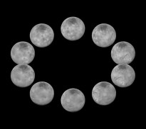 In July 2015, New Horizons captured images of the largest of Pluto's five moons, Charon, rotating over the course of a full day. The best currently available images of each side of Charon taken during approach have been combined to create this view of a full rotation of the moon. NASA/Johns Hopkins University Applied Physics Laboratory/Southwest Research Institute