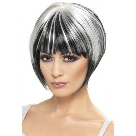perruque cheveux noirs avec des mèches blanches