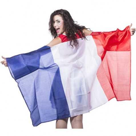 poncho polyester avec motif drapeau francais