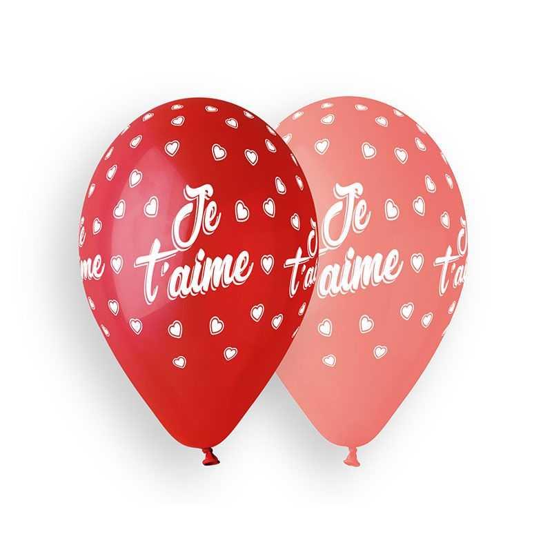 Ballons imprimés Je t'aime - Ballons de baudruche Je t'aime