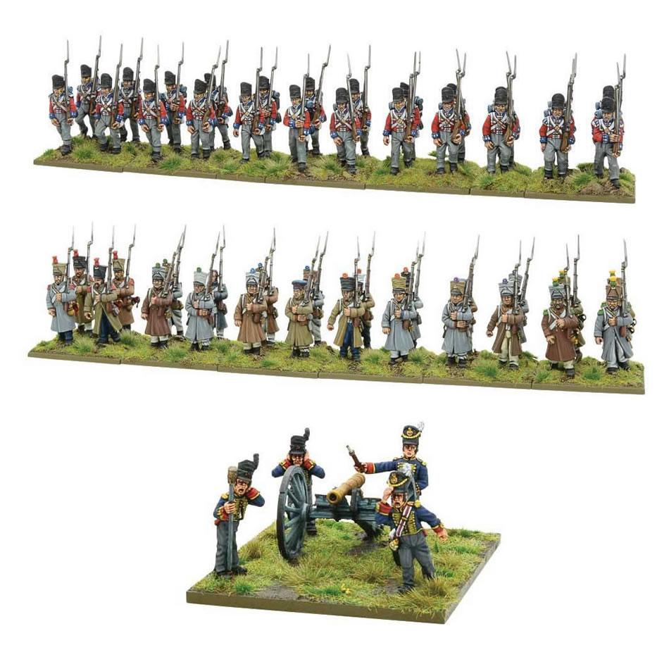Infanteries de lignes françaises et anglaises ainsi que le canon anglais de six livres