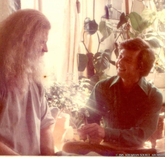 """I came across this great photo of Elliott Mintz and Father Yod..who were good friends from the late 60's through the 70's with the Source Rest. and Brotherhood. Elliott use to interview Jim Baker on his radio show then came to the Father House in Nicholas Canyon and did a huge T.V. interview on him and us for his T.V. program. Elliott has remained dear to some of our hearts over the years and i wanted to share this ..xxoo isis"