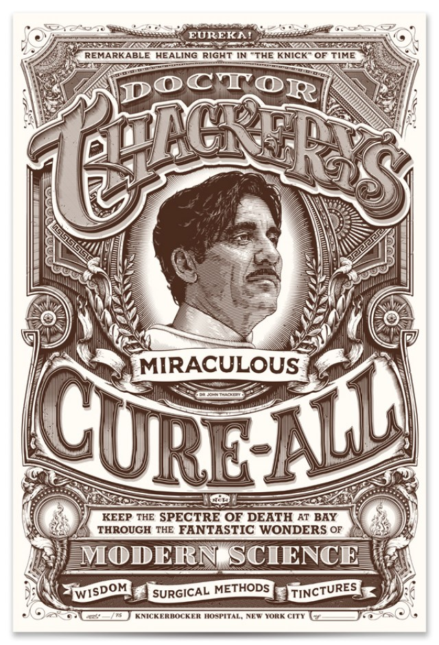 """Doctor Thackery's Miraculous Cure-All"" limited edition screenprint Print size: 12″ x 18″ Limited edition of 75 one-color screenprint on natural cover stock. Each print is hand signed & numbered. $40 each. First ten in the edition hand embellished for a weathered look done in ink wash, $50 each. First in the edition (#1) mounted to wood and sealed with resin, $350."