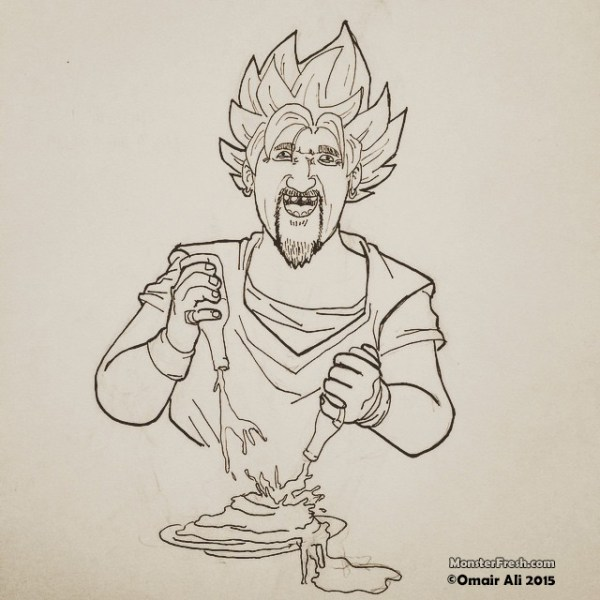 """I ask all the creatures of earth, all the plants and animals, please lend me your flavors!"" -Guyku Fieri ‪#‎drawing‬ ‪#‎dragonballz‬ ‪#‎spiritbomb‬ ‪#‎goku‬ ‪#‎supersaiyan‬ ‪#‎guyfieri‬ ‪#‎sauceplate‬ ‪#‎flavortown‬ ‪#‎thatsmoney‬ ‪#‎tripleD‬ ‪#‎jalapenopoppers‬"
