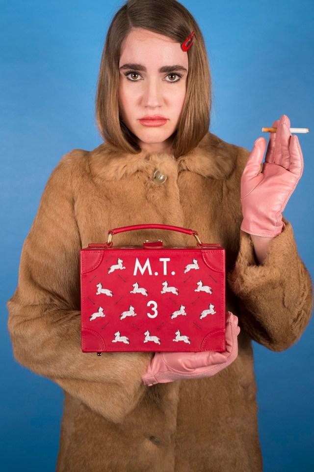 "Jayde Fish ""The Margot"" acrylic on custom leather traincase 8.5""w x 6""h x 4""d $1,111"