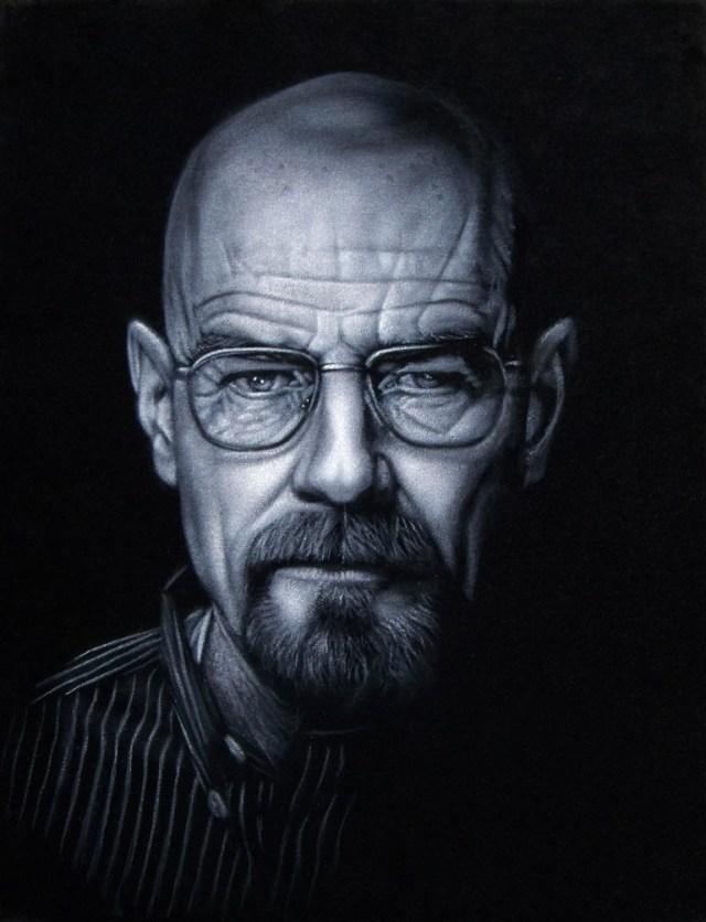 """BRUCE WHITE """"Walter White"""" acrylic on velvet 11 x 14 inches framed"""