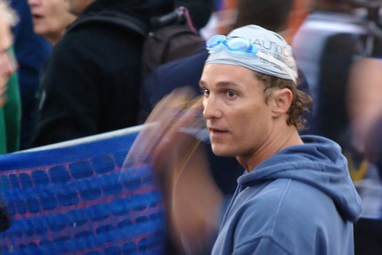 Matthew McConaughey, pictured taking part in a triathlon in 2008, is said to have signed up to star in a film version of the book