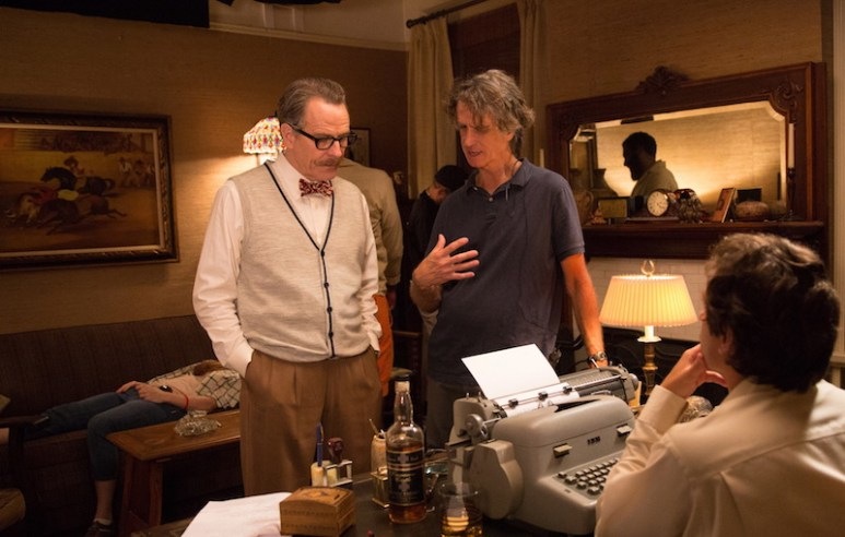 Cranston talks about a scene with director Jay Roach on set