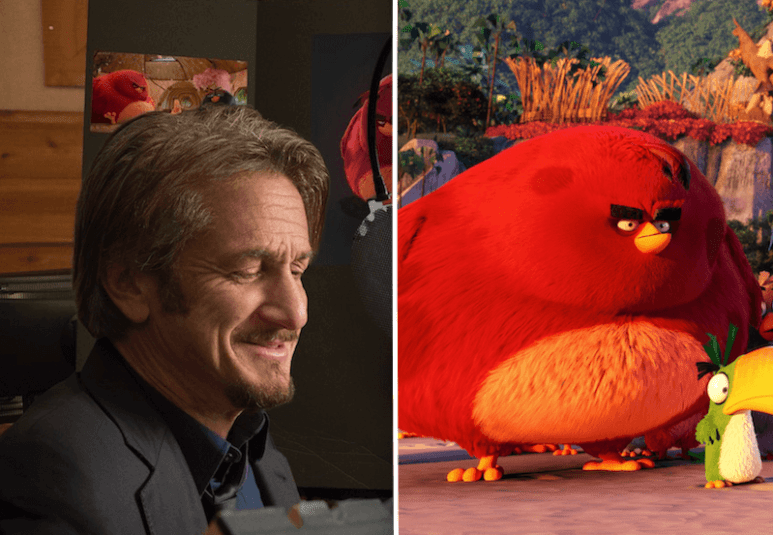 Sean Penn recording the voice for his grumpy Angry Birds character Terence, right