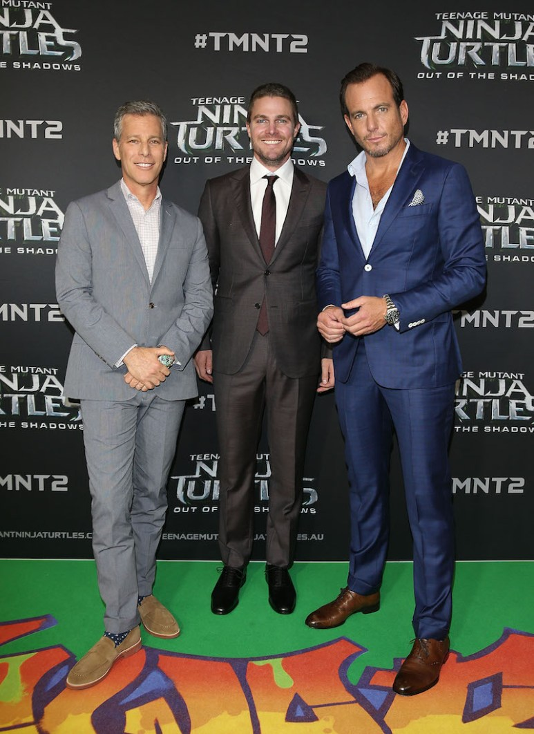 SYDNEY, AUSTRALIA - MAY 29: (L-R) Brad Fuller, Stephen Amell and Will Arnett arrive ahead of the Australian premiere of Teenage Mutant Ninja Turtles 2 at Event Cinemas George Street on May 29, 2016 in Sydney, Australia. (Photo by Caroline McCredie/Getty Images for Paramount Pictures) *** Local Caption *** Brad Fuller; Stephen Amell; Will Arnett
