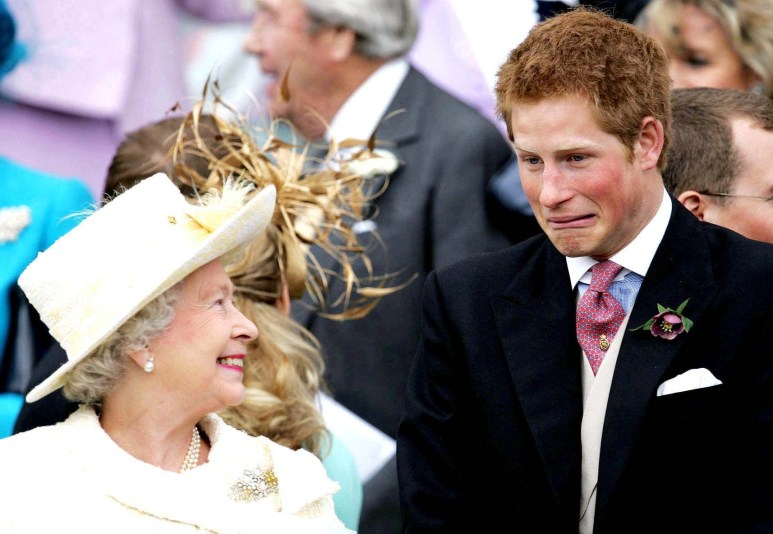 Harry with his grandmother The Queen. Pic: Alpha/Globe Photos Inc