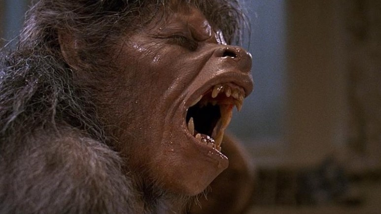 The transformation scene from An American Werewolf in London showing half-man half-wold state