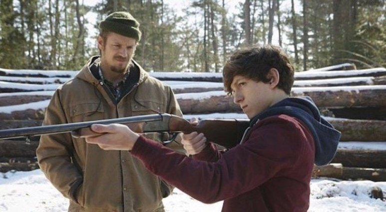 Joel Kinnaman and Tom Holland in EDGE OF WINTER, courtesy Vertical Entertainment