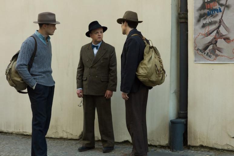 Jamie Dornan as Jan Kubiš, Toby Jones as Uncle Haiský and Cillian Murphy as Josef Gabčík in director Sean Ellis' ANTHROPOID