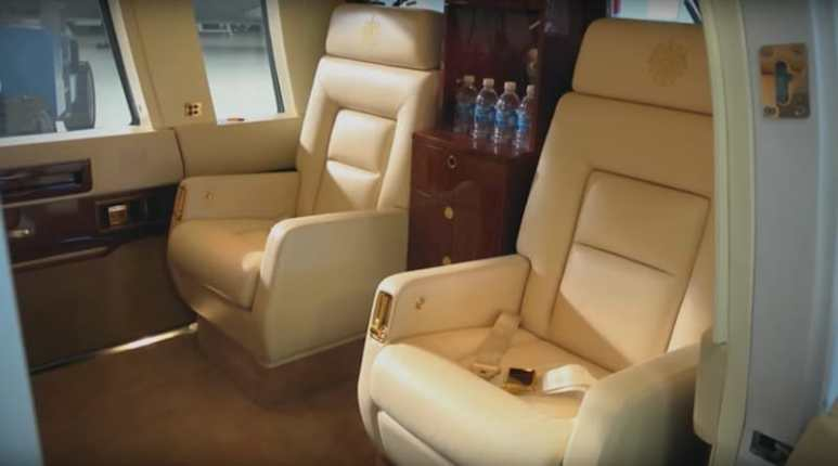 Interior of Donald Trump's helicopter