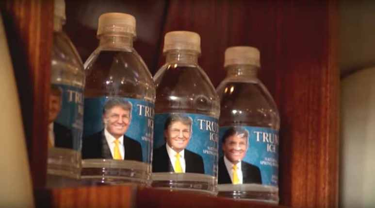 Water bottles with Trump's face on